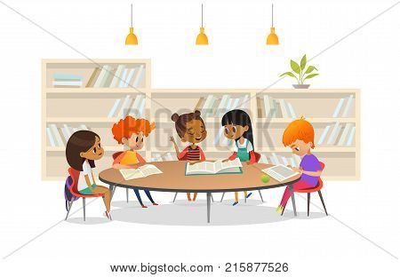 Group of children sitting around table at school library and listening to girl reading book out loud against bookcase or shelving on background. Cartoon vector illustration for banner, poster