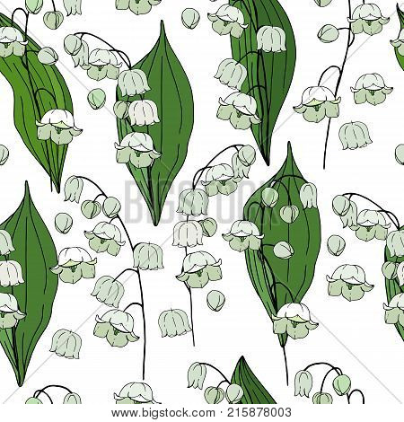 Seamless Floral Decorative Pattern With Lilies Of The Valley. Endless Texture For Your Design, Fabri