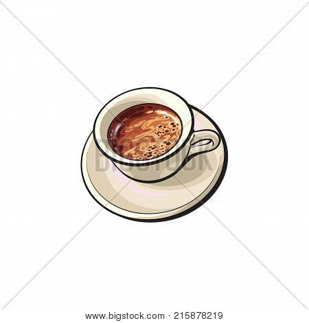 Hand drawn cup of black Americano, Espresso, Turkish, brewed coffee drink, sketch ector illustration on white background. Realistic hand drawing of black coffee in white porcelain cup and saucer