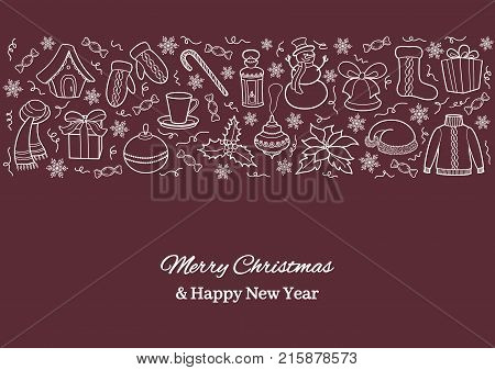Christmas card or horizontal banner with holiday icons. White silhouettes of a snowman, Santa cap, ball, gift, lantern, sweater on a tawny background. Sketch hand drawing style. Vector illustration.