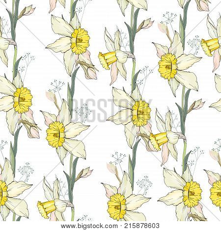 Seamless Floral Decorative Pattern With White Daffodils. Endless Texture For Your Design, Fabrics, D