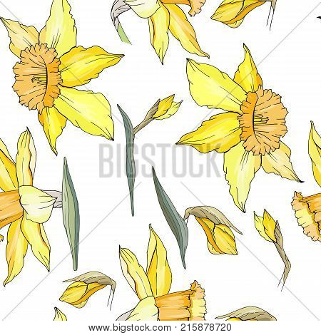 Seamless Floral Decorative Pattern With Yellow Daffodils. Endless Texture For Your Design, Fabrics,