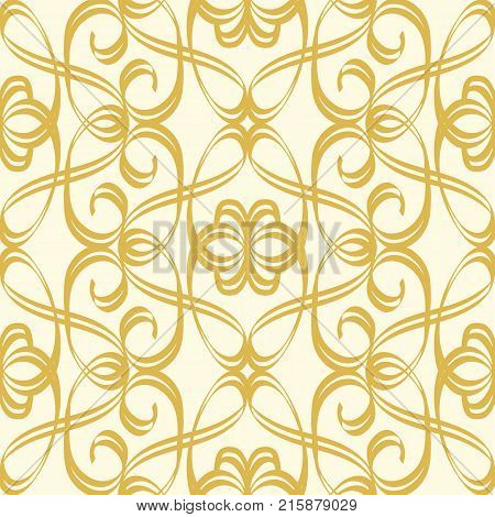 Abstract seamless undisciplined style gold pattern with repeating geometric weaves and creative squiggles vector illustration