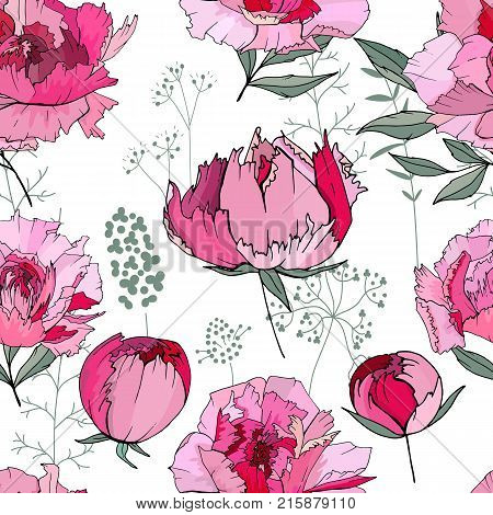 Seamless Floral Decorative Pattern With Red And Pink Peonies. Endless Texture For Your Design, Fabri