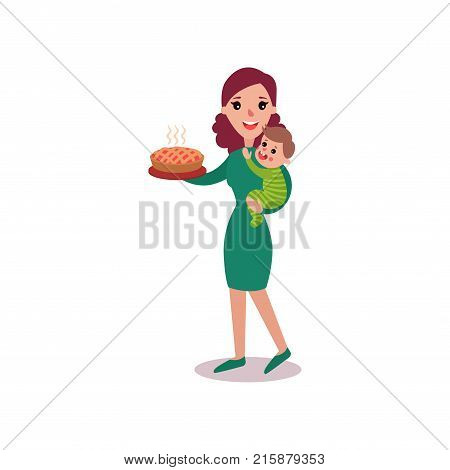 Mother holding fresh homemade pie in one arm and baby in the other, super mom concept vector Illustration isolated on a white background
