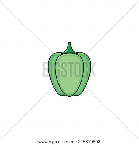 vector flat sketch style green fresh ripe pepper. Isolated illustration on a white background. Healthy vegetarian eating, dieting and lifestyle design object.