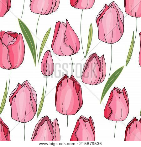 Seamless Floral Decorative Pattern With Tulips. Endless Texture For Your Design, Fabrics, Decor.