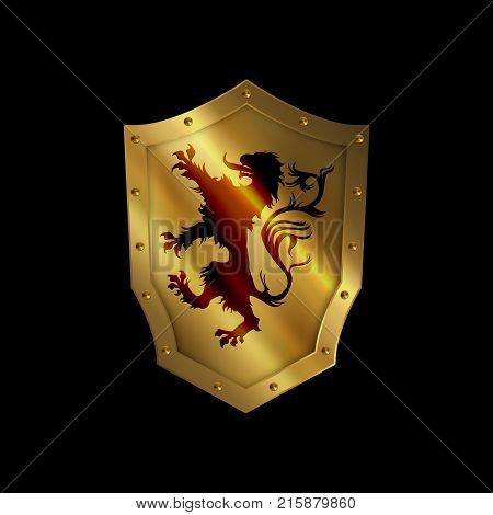 Golden riveted shield with heraldic lion. Isolated on black background.