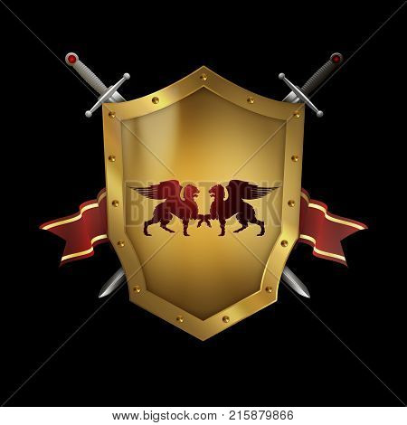 Golden riveted shield with swords and red ribbon on black background.
