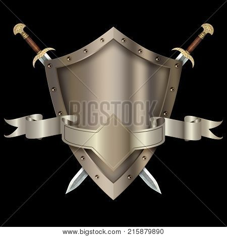 Silver shield with swords and silver ribbon on black background.