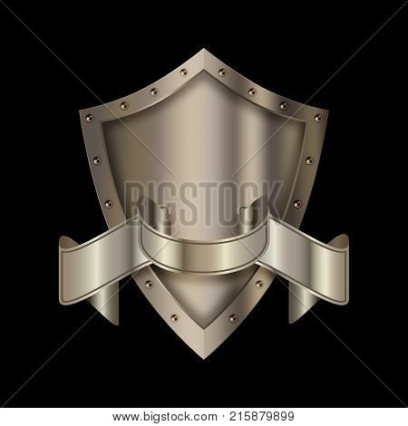 Silver shield with riveted border and silver ribbon on black background.
