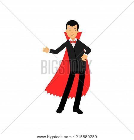 Vampire character doing welcome gesture, Count Dracula wearing black suit and red cape vector Illustration isolated on a white background