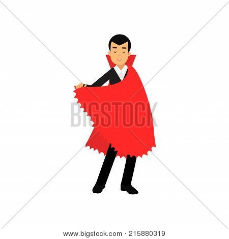 Smiling vampire character in red cape, Count Dracula wearing black suit vector Illustration isolated on a white background