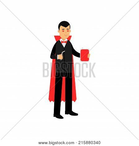 Vampire character standing with a flask of blood and straw, Count Dracula wearing black suit and red cape vector Illustration isolated on a white background