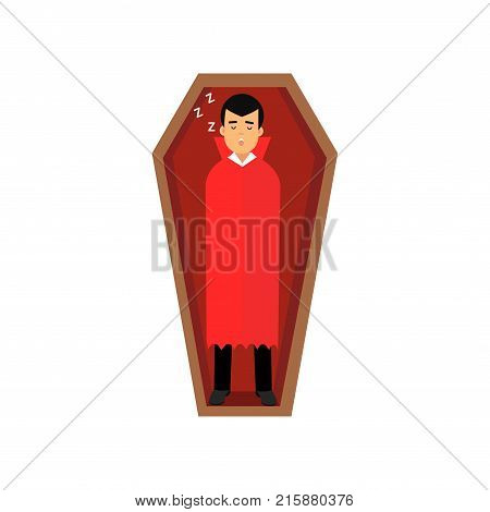 Vampire character sleeping in wooden coffin, Count Dracula wearing black suit and red cape vector Illustration isolated on a white background