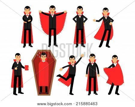 Vampire characters posing in different situations set, Count Dracula wearing black suit and red cape vector Illustrations isolated on a white background