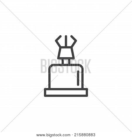 Portable gas stove line icon, outline vector sign, linear style pictogram isolated on white. Campsite equipment symbol, logo illustration. Editable stroke poster