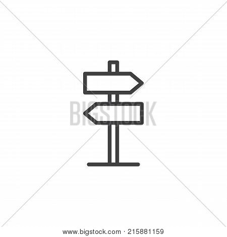 Signpost, pointer line icon, outline vector sign, linear style pictogram isolated on white. Direction road sign symbol, logo illustration. Editable stroke
