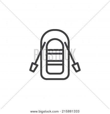 Inflatable boat with oars line icon, outline vector sign, linear style pictogram isolated on white. Symbol, logo illustration. Editable stroke