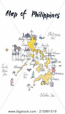 Cartoon map of attractions of Philippines hand drawn illustration