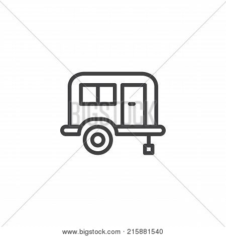 Camping trailer line icon, outline vector sign, linear style pictogram isolated on white. Mobile home trailer symbol, logo illustration. Editable stroke