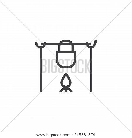 Pot on the fire in camping line icon, outline vector sign, linear style pictogram isolated on white. Camp pot symbol, logo illustration. Editable stroke