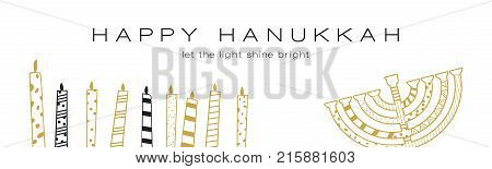 Hanukkah greeting banner , Jewish holiday symbols. golden hanukkah menora and candles. vector illustrtion