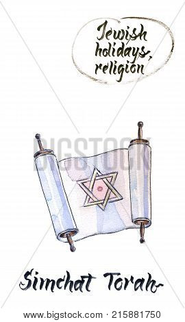 Concept of Judaic holiday Simchat torah old testament hand drawn illustration