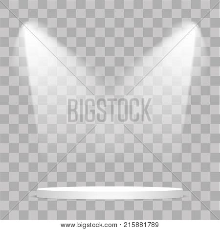 Round stage podium illuminated with light on transparent background. Stage vector backdrop. Festive podium scene with red carpet for award ceremony. Vector illustration.