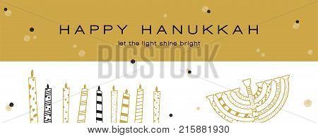 Hanukkah greeting banner , Jewish holiday symbols. golden hanukkah menora and candles. vector illustrtion