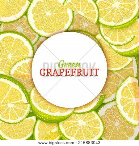 Round white label on citrus grapefruit background. Vector card illustration. Tropical fresh and juicy green pomelo frame peeled piece of half slice for d for packaging design healthy food, diet juce