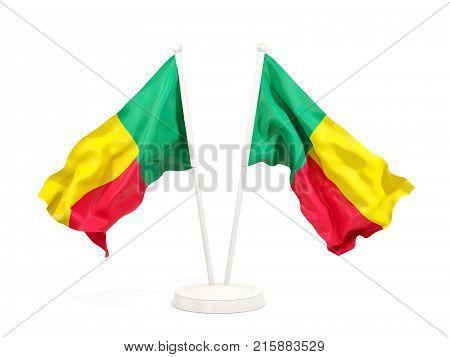 Two Waving Flags Of Benin