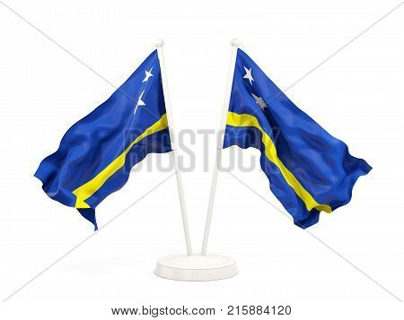 Two Waving Flags Of Curacao