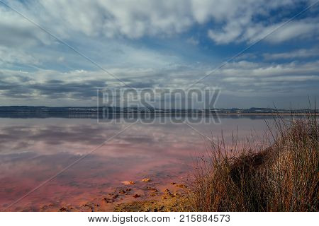Picturesque view of Las Salinas. Salt lake of Torrevieja declared one of the healthiest in Europe according to the World Health Organization. Province of Alicante. Costa Blanca Spain