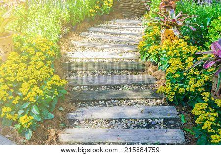 Pathway in garden, Flowers with bricks pathways, garden landscape design poster