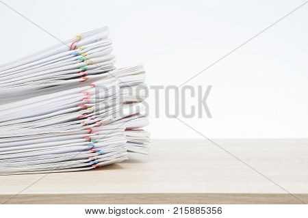 Overload Paperwork Report On Wooden Table And Copy Space
