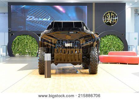 DUBAI UAE - NOVEMBER 17: The Devel Sixty off-road car is on Dubai Motor Show 2017 on November 17 2017