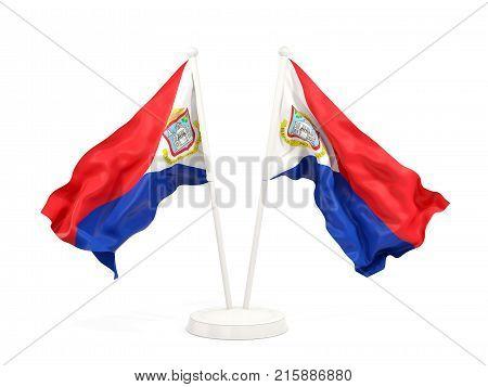 Two Waving Flags Of Sint Maarten