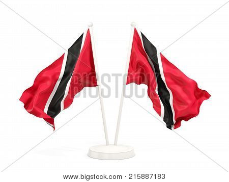 Two Waving Flags Of Trinidad And Tobago
