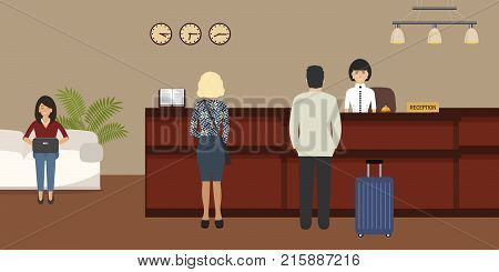 Hotel reception. Young woman receptionist stands at reception desk. There are also visitors here. Travel, hospitality, hotel booking concept. Vector image