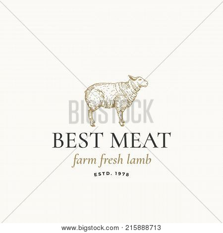 Best Meat Farm Fresh Lamb Abstract Vector Sign, Symbol or Logo Template. Hand Drawn Engraving Sheep Sillhouette with Retro Typography. Vintage Vector Emblem. Isolated.