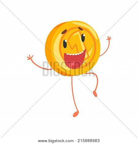 Joyful golden coin jumping with hands up. Cartoon money character with legs and arms. One cent or penny icon in flat style. Isolated vector illustration. Graphic design for mobile app, sticker, print.