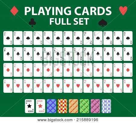 Playing cards full deck for poker, black jack. Collection with a joker and backs. Isolated on a green background. Vector illustration