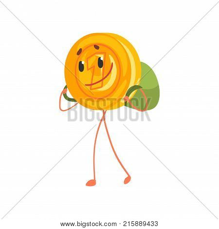 Smiling one cent character walking with backpack on back. Cartoon golden penny icon. Saving money and banking concept. Isolated flat vector illustration. Design for sticker, flyer, poster or card.