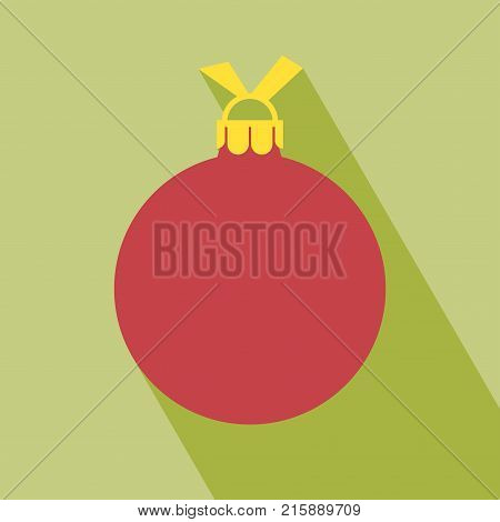 Christmas ball icon. Decorative Pictogram for Christmas. Flat Xmas Icon Christmas ball icon, flat design. Christmas ball with long shadow. All in a single layer. Vector illustration.
