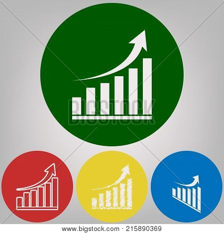 Growing graph sign. Vector. 4 white styles of icon at 4 colored circles on light gray background.