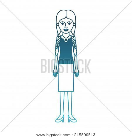 woman full body with blouse and skirt and heel shoes with braided hair in degraded blue silhouette vector illustration