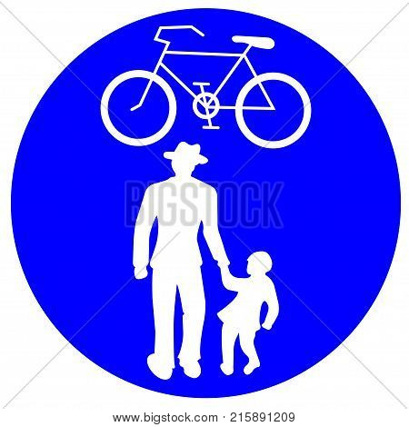 Joint pedestrian and cycle path conceptual vector art