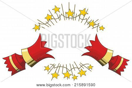 Red Christmas Cracker Pulled Open with Gold Stars Line Illustration