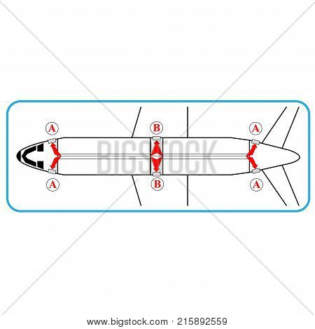 Airplane interior with exit indications rescue plan